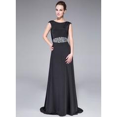 Corte A/Princesa Escote redondo Barrer/Cepillo tren Jersey Vestido de noche con Bordado