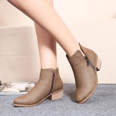 Kvinner Lær Lav Hæl Flate sko Lukket Tå Støvler Ankelstøvler med Glidelås sko