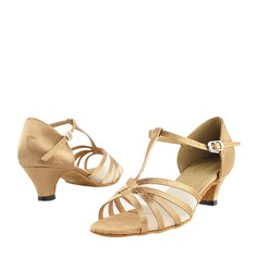 Satin Mesh Heels Latin With T-Strap Dance Shoes