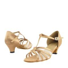 Satén Malla Tacones Danza latina con Tira T Zapatos de danza