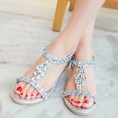 Women's Leatherette Low Heel Sandals With Buckle Rhinestone