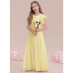 A-Linie U-Ausschnitt Bodenlang Chiffon Kleider für junge Brautjungfern mit Rüschen Gestufte Rüschen