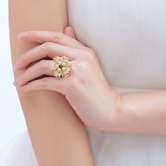 Prachtige Koper/Kant met Parel Dames Ringen