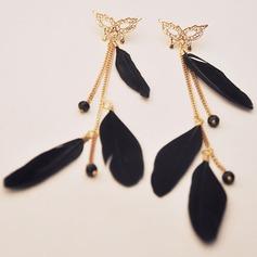 Charming Fox Alloy Feather Women's Fashion Earrings