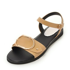 Donna Similpelle Senza tacco Sandalo Ballerine con Fibbia scarpe