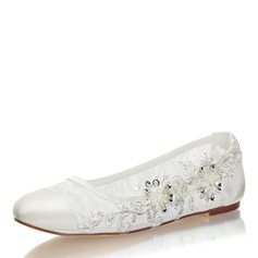 Kvinner Blonder silke som sateng Flat Hæl Lukket Tå Flate sko med Syning Blonde