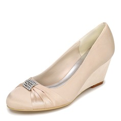 Women's Satin Wedge Heel Closed Toe Pumps Wedges With Bowknot Rhinestone (047095133)