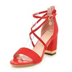 Naisten Mokkanahka Chunky heel Sandaalit Avokkaat Peep toe jossa Solki kengät