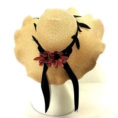 Señoras' Estilo clásico Ratán paja con Bowknot Disquete Sombrero/Sombrero de paja