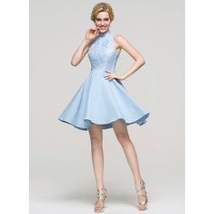 A-Linie/Princess-Linie High Neck Kurz/Mini Satin Ballkleid (022089915)