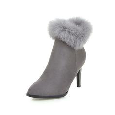 Kvinder Ruskind Stiletto Hæl Ankelstøvler med Lynlås Pels sko