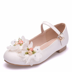 Girl's Ronde neus Closed Toe Mary Jane imitatieleer Flats met Gesp Bloem