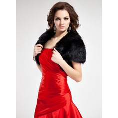 Short Sleeve Faux Fur Special Occasion Wrap