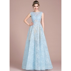 A-Line/Princess Scoop Neck Floor-Length Tulle Lace Prom Dresses