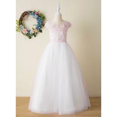 Corte A Longos Vestidos de Menina das Flores - Tule/Renda Sem magas Decote quadrado com Beading/Apliques de Renda/Curvado