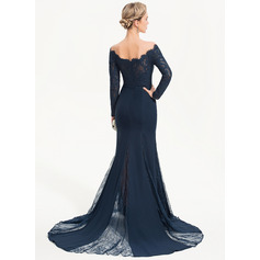 Trumpet/Mermaid Off-the-Shoulder Sweep Train Chiffon Evening Dress (017186159)