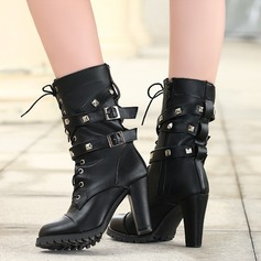 Women's PU Chunky Heel Boots Mid-Calf Boots With Rivet Buckle Zipper Lace-up shoes (088130797)