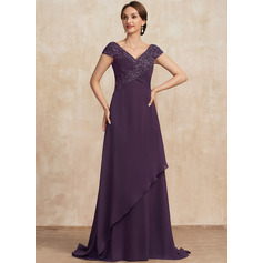 A-Line V-neck Sweep Train Lace Chiffon Mother of the Bride Dress With Ruffle Beading