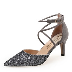 Women's Suede Sparkling Glitter Stiletto Heel Pumps Closed Toe With Buckle shoes