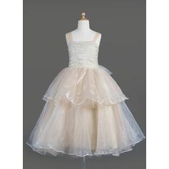 Forme Princesse Longueur mollet Robes à Fleurs pour Filles - Organza Sans manches Encolure carrée avec Plissé/À ruban(s)