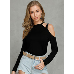 Solid Long Sleeves Cotton Cold Shoulder Knit Blouses
