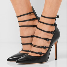 Kvinnor Äkta läder Stilettklack Pumps med Ihåliga ut Button skor (085109427)