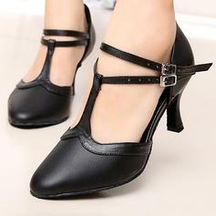 Femmes Vrai cuir Talons Sandales Salle de bal Swing avec Boucle Ouvertes Chaussures de danse