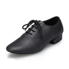 Dos homens Couro verdadeiro Sem salto Latino Salão de Baile Treino sapatos de personagem Sapatos de dança