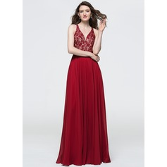 A-Line/Princess V-neck Floor-Length Chiffon Prom Dresses With Sequins