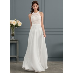 A-Line Scoop Neck Floor-Length Chiffon Wedding Dress With Beading Sequins