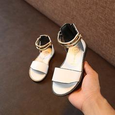 Mädchens Peep Toe Leder Flache Ferse Sandalen Flache Schuhe Blumenmädchen Schuhe mit Kette
