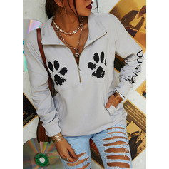 Animal Print Lapel Long Sleeves Sweatshirt (1001254066)