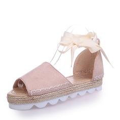 Kvinder Ruskind Flad Hæl sandaler Fladsko med Blondér sko
