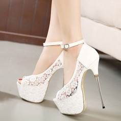 Women's Lace Stiletto Heel Pumps Platform Peep Toe With Buckle shoes