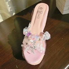 Femmes Tissu Talon compensé Compensée Chaussons avec Strass chaussures
