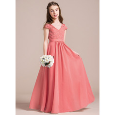 A-Line V-neck Floor-Length Chiffon Lace Junior Bridesmaid Dress (009087908)