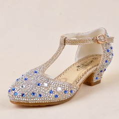 Girl's Leatherette Flat Heel Closed Toe Sandals With Buckle Rhinestone