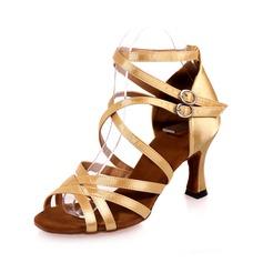 Mulheres Cetim Saltos Sandálias Latino com Correia de Calcanhar Sapatos de dança