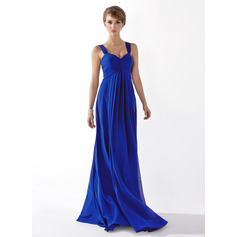 Empire Sweetheart Floor-Length Chiffon Bridesmaid Dress With Ruffle