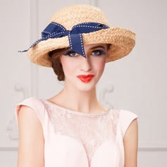 Senhoras Elegante Rattan de palha Chapéu de Coco / Cloche de Chapéu