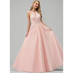 Ball-Gown/Princess Scoop Neck Floor-Length Tulle Wedding Dress With Lace Beading Sequins (002235185)