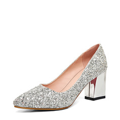 Women's Sparkling Glitter Chunky Heel Closed Toe (047121088)