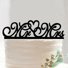 Mr & Mrs/Du & Jag Akryl Tårtdekoration (Säljs i ett enda stycke)