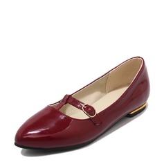 Femmes Cuir verni Talon plat Chaussures plates Bout fermé avec Dentelle chaussures