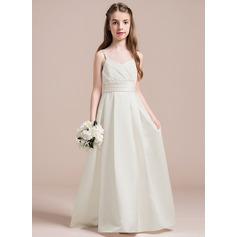 A-Line/Princess Sweetheart Floor-Length Satin Junior Bridesmaid Dress With Ruffle