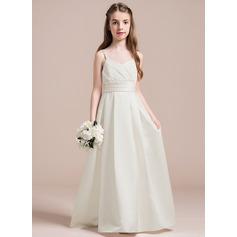 A-Linie Schatz Bodenlang Satin Kleider für junge Brautjungfern mit Rüschen