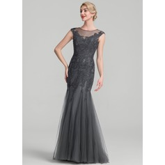 Trumpet/Mermaid Scoop Neck Floor-Length Tulle Lace Mother of the Bride Dress (008107667)