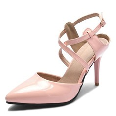Mulheres Couro Salto agulha Sandálias Bombas Fechados com Fivela sapatos
