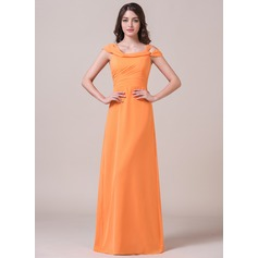Sheath/Column Off-the-Shoulder Floor-Length Chiffon Bridesmaid Dress With Ruffle