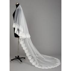 Uma camada Borda com aplicação de renda Catedral véus de noivas com Aplicação